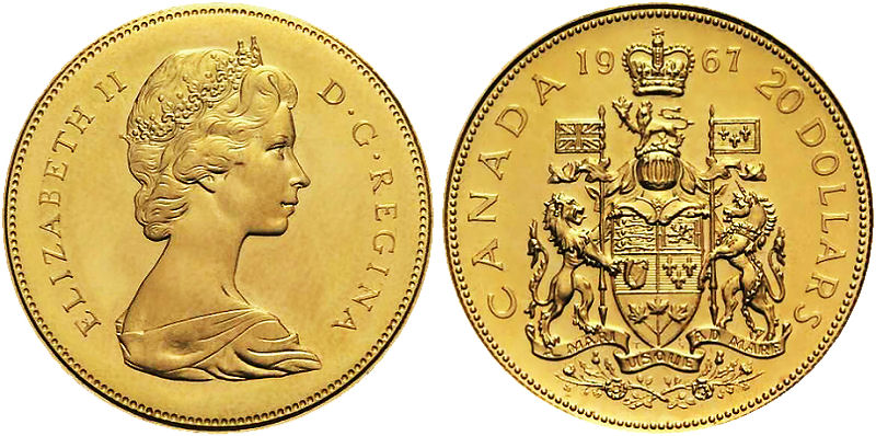 Canadian 20$ Gold Coin 1967. We buy coins.