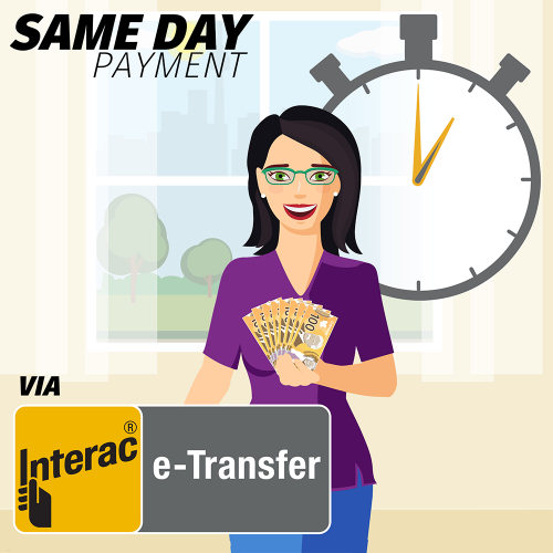 Accept our offer and we'll buy your material and pay you immediately via your chosen payment method. We recommend Interac e-Transfer. It's free and your money will be available in your bank account in under an hour.