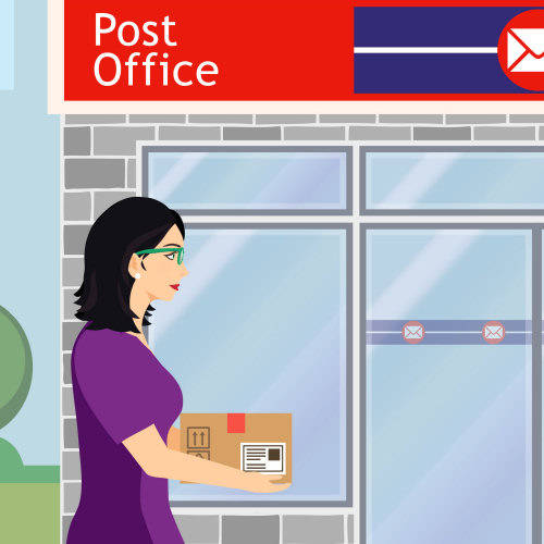 Put the label on a box or bubble wrap envelope containing your items and your order number (lower half of the printout). Take it to a post office to send it as a tracked package to us.